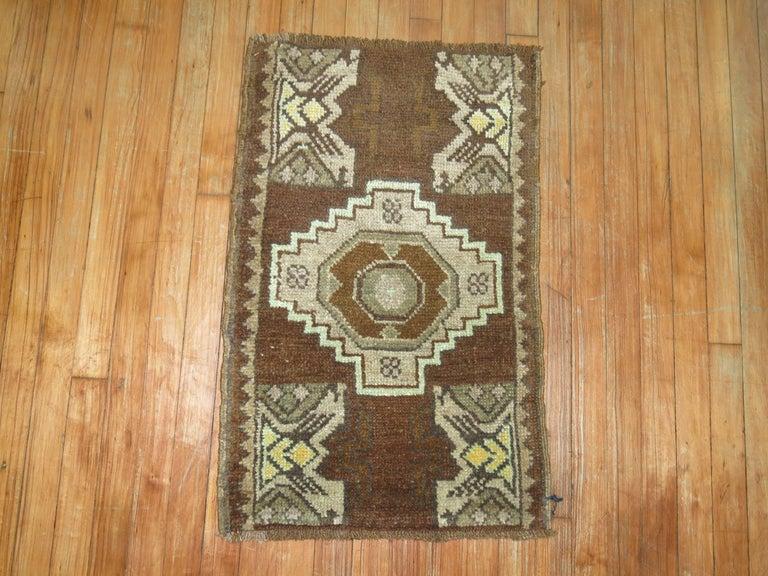 One of kind vintage Turkish throw rug.