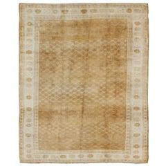 Vintage Turkish Carpet with Modern and Minimalist Design in Light Caramel