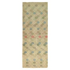 Vintage Turkish Deco Wide Runner, Tan Blue Gray Green Brown Accents