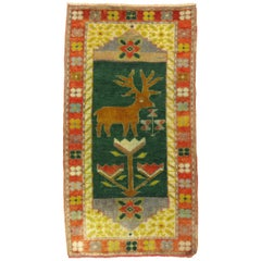 Vintage Turkish Deer Rug