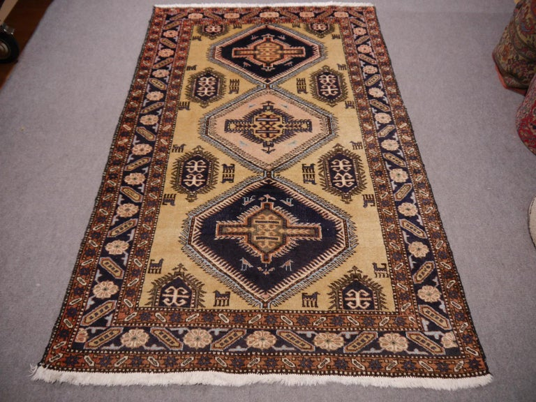 A very beautiful geometric designed village rug from eastern Anatolia. Wool pile hand knotted on a cotton warp and weft. Made in the 1950/60´s. The rug has a very good pile condition, original fringes and selvedge and a small restored area at one