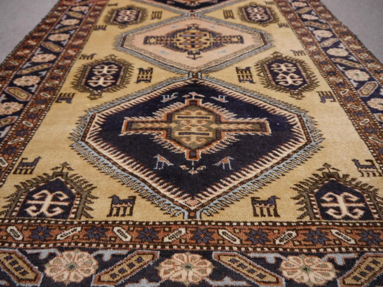 Hand-Knotted Vintage Turkish East Anatolian Rug For Sale
