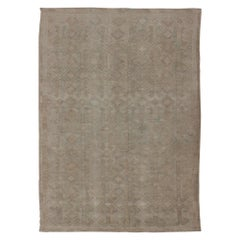 Vintage Turkish Embroidered Flat-Weave Rug with Neutral-Toned Geometric Design