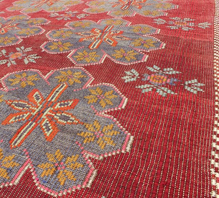Vintage Turkish Embroidered Kilim Rug in Wine Red, Steel Blue, Pink and Orange  For Sale 4