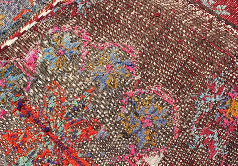 Vintage Turkish Embroidered Kilim Rug in Wine Red, Steel Blue, Pink and Orange  For Sale 5