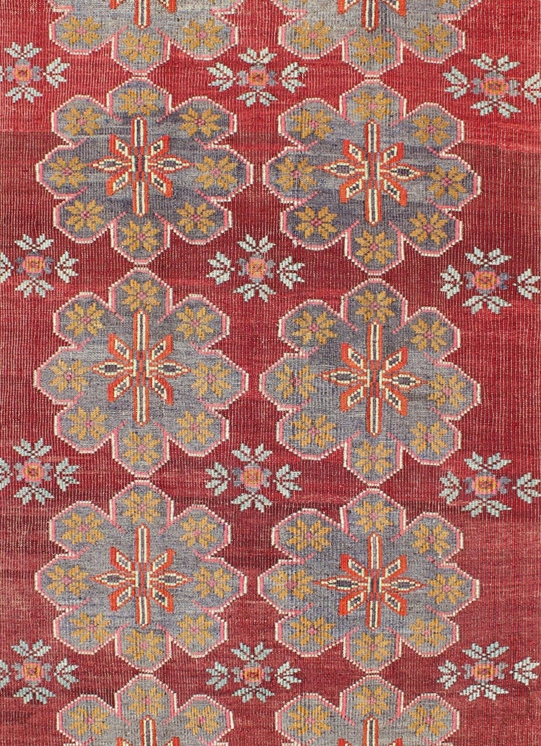 Hand-Woven Vintage Turkish Embroidered Kilim Rug in Wine Red, Steel Blue, Pink and Orange  For Sale