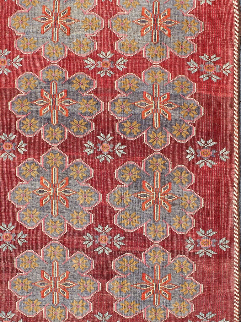 Vintage Turkish Embroidered Kilim Rug in Wine Red, Steel Blue, Pink and Orange  In Excellent Condition For Sale In Atlanta, GA