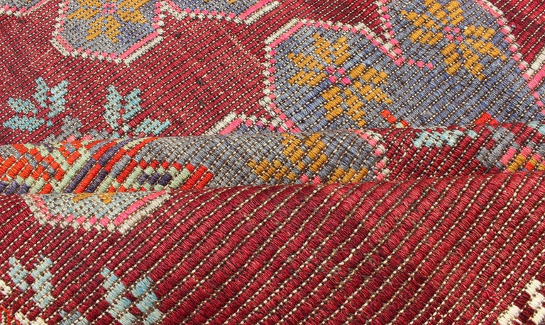 20th Century Vintage Turkish Embroidered Kilim Rug in Wine Red, Steel Blue, Pink and Orange  For Sale