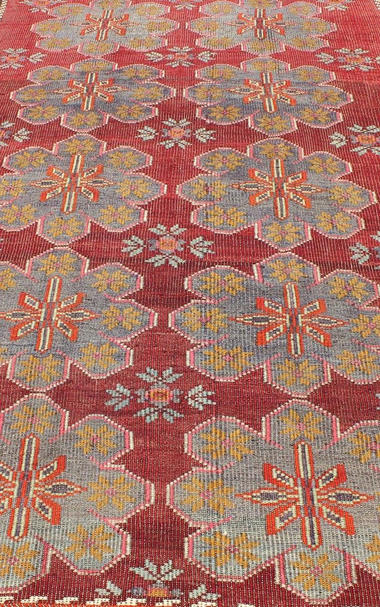 Wool Vintage Turkish Embroidered Kilim Rug in Wine Red, Steel Blue, Pink and Orange  For Sale
