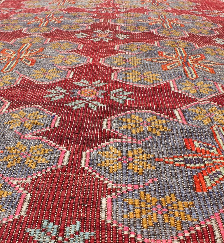 Vintage Turkish Embroidered Kilim Rug in Wine Red, Steel Blue, Pink and Orange  For Sale 1