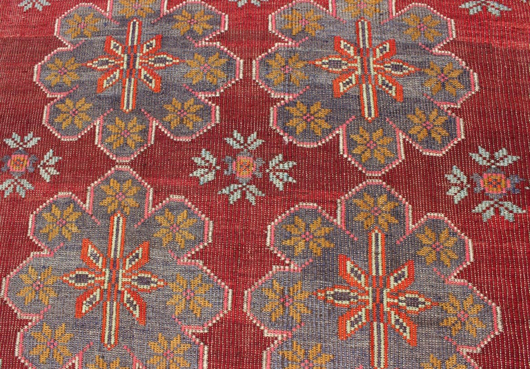 Vintage Turkish Embroidered Kilim Rug in Wine Red, Steel Blue, Pink and Orange  For Sale 2