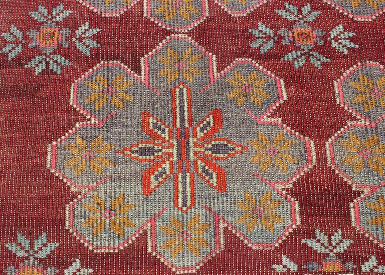 Vintage Turkish Embroidered Kilim Rug in Wine Red, Steel Blue, Pink and Orange  For Sale 3