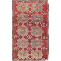 Vintage Turkish Embroidered Kilim Rug in Wine Red, Steel Blue, Pink and Orange