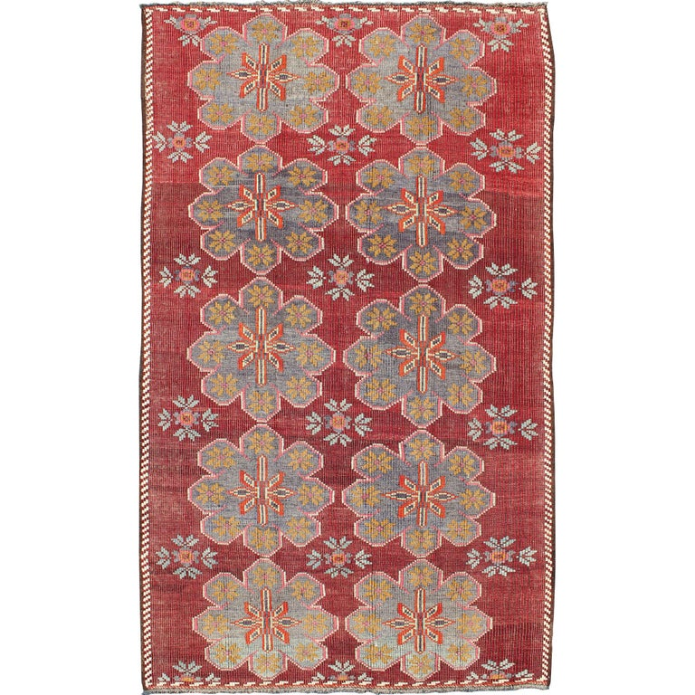 Vintage Turkish Embroidered Kilim Rug in Wine Red, Steel Blue, Pink and Orange  For Sale