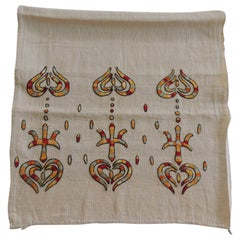 Vintage Turkish Embroidered Linen and Silk Textile