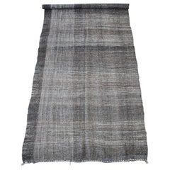 Vintage Turkish Flat-Weave Derian Rug Brown with Creamy Plaid Pattern