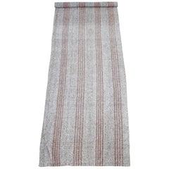 Vintage Turkish Flat-Weave James Rug Brown Gray with Coral Stripes