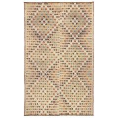 Vintage Turkish Flat-weave Kilim Rug with Modern Southwestern Bohemian Style