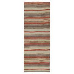 Vintage Turkish Flat-Weave Kilim Runner with Horizontal Stripes
