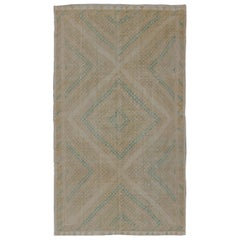 Vintage Turkish Flat-Weave Kilim with Diamond Geometric Design in Taupe, Tan