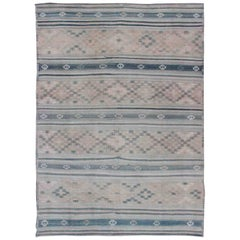 Vintage Turkish Flat-Weave Kilim with Embroideries in Diamonds and Stripes
