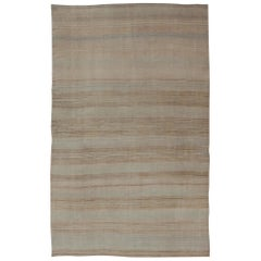 Vintage Turkish Flat-Weave Muted Colored Kilim in Taupe, Brown and Light Blue