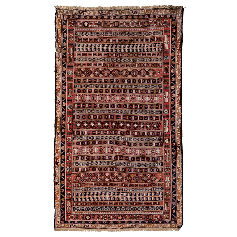 Vintage Turkish Flat-Weave RahRah Sumak Rug For Sale