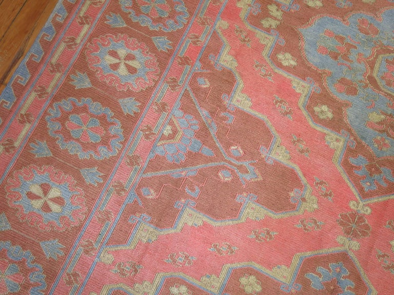 Silk Surface Vintage Turkish Flat Weave Rug For Sale At