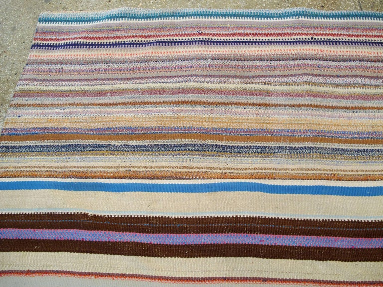 Wool Vintage Turkish Flat-Weave Rug For Sale
