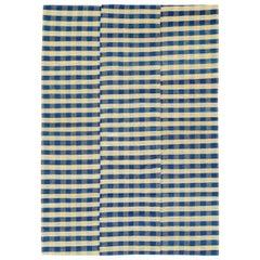 Vintage Turkish Flat-Weave Plaid Accent Rug