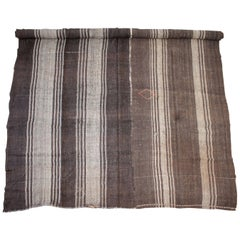 Vintage Turkish Flat-Weave Rug in Brown and Taupe Stirpes
