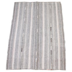 Vintage Turkish Flat-Weave Rug with Brown and Blush Tones