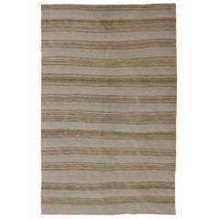Vintage Turkish Flat-Weave Striped Kilim in Taupe, Brown and Tan Colors