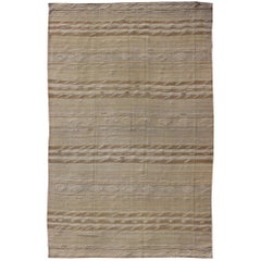 Vintage Turkish Flat-Weave Striped Kilim in Taupe Colors