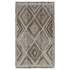 Vintage Turkish Flat Weave with Diamond Design in Gray, Black, Lavender & Green