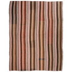 Vintage Turkish Flat-Woven Brown and Pink Wool Striped Pattern Kilim