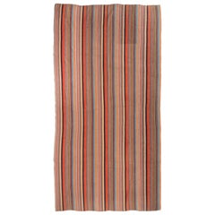 Vintage Turkish Flat-Woven Red and Pink Striped Pattern