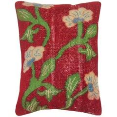 Vintage Turkish Floral Rug Pillow
