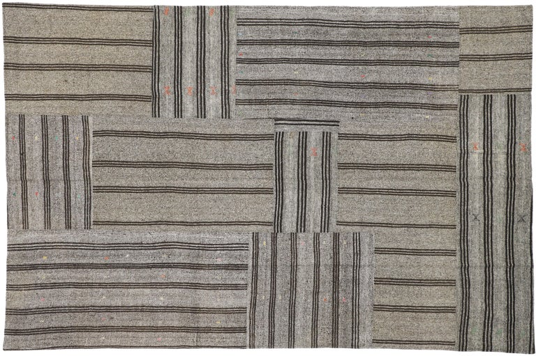 Vintage Turkish Gray Flatweave Kilim Rug with Black Stripes, Flat-weave Rug For Sale 4