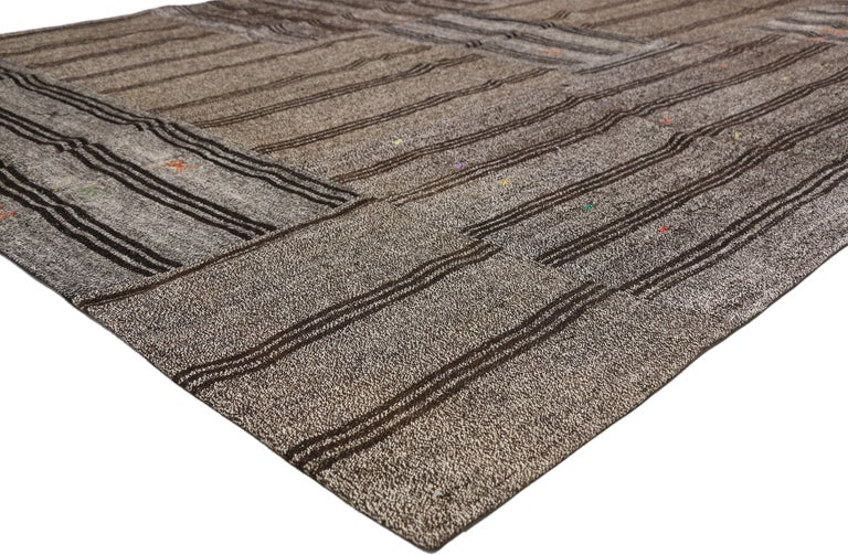 51839 Vintage Turkish Gray Flatweave Kilim Rug with Black Stripes, Flat-weave Rug. This vintage Turkish gray flatweave Kilim rug features black stripes and tribal motifs. A fine example of Minimalist style, simplicity with a twist of boho chic. With