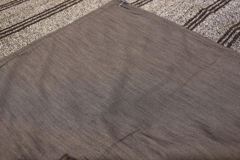 Wool Vintage Turkish Gray Flatweave Kilim Rug with Black Stripes, Flat-weave Rug For Sale