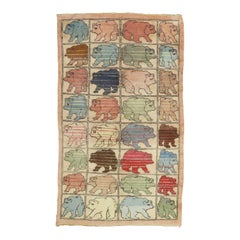 Vintage Turkish Hand Knotted Bear Animal Pictorial Rug