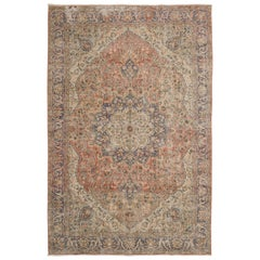 Vintage Turkish Hand Knotted Wool Rug with Floral Design