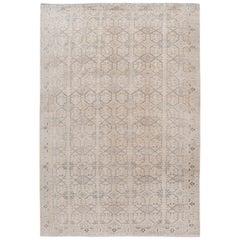 Vintage Turkish Handmade Beige Geometric Wool Rug