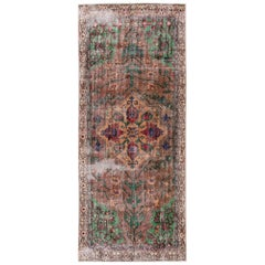 Vintage Turkish Handmade Brown Floral Medallion Wool Runner