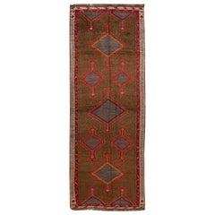 Vintage Turkish Handmade Brown Tribal Wool Runner
