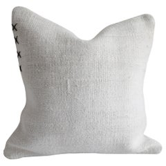 Vintage Turkish Hemp Rug Pillow Cover in Off-White with Stitching