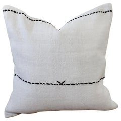 Vintage Turkish Hemp Rug Pillow in off White with Stitched Pattern