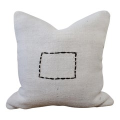 Vintage Turkish Hemp Rug Pillow in Off-White with Stitched Pattern