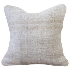 Vintage Turkish Hemp Rug Pillow in Off-White with Woven Stripes